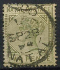 Natal 1887-9 sg#107, 2d Verde Oliva QV DIE II USATO #d21578