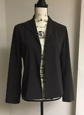 Eileen Fisher Women's Small Open Front Blazer Jacket Wool Blend Black Purple