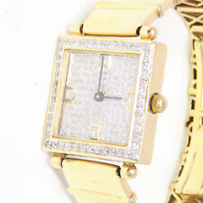 NYJEWEL 18K Solid Yellow Gold 1.6ct Diamond Swiss Bracelet Watch