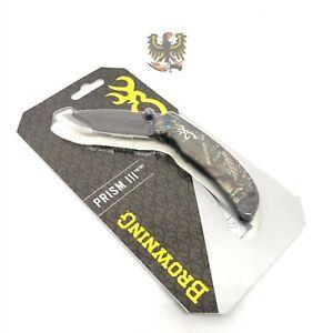 BROWNING PRISM 3 POCKET FOLDING KNIFE LINERLOCK CAMO (2.5″)