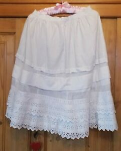 Vintage French Cotton Petticoat with Handmade Broderie Anglaise  - c1910