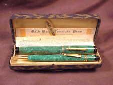 GOLD BOND OVERSIZED FLATTOP PEN/PENCIL SET, JADE GREEN, ORIG BOX,  c.'20's-'30s'