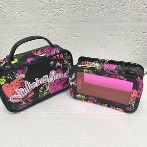 Victoria's Secret 2 Floral Train Case Cosmetic Bags new