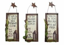 Outhouse Etiquette Bathroom Signs Set of 3 Country Rustic Home Décor Wall New