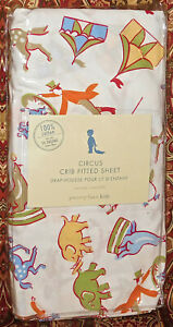 Pottery Barn Kids CIRCUS FRIENDS Animals Clowns Crib Baby Nursery FITTED SHEET