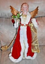 Beautiful Blonde Angel with Golden Wings and Red/White Robe Tree Topper