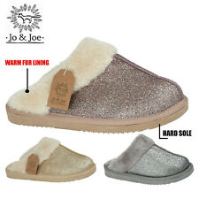 Ladies Slippers Womens Sparkly Warm Fur Lined Winter Warm Mules Shoes House Size