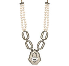"Heidi Daus Art Deco ""Well Connected"" Cream Necklace - MSRP $279.95"