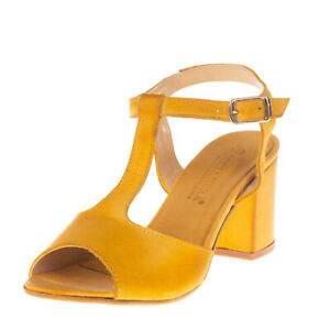 RRP €120 RICCIANERA Leather T-Strap Sandals EU 37 UK 4 US 7 Heel Made in Italy