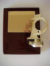 New Number 1 Hanging 9 x 7 inch Burgundy Placard with Engravable Plate (B333)