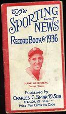 1936 THE SPORTING NEWS BASEBALL RECORD BOOK HANK GREENBERG COVER