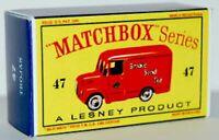 Matchbox Lesney No 47 TROJAN  VAN style style D Repro empty Box