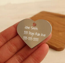 Dazzle Labs Personalized Heart Shape Id Tag Deep Laser Engraved Dog Cat Tag Bl-1