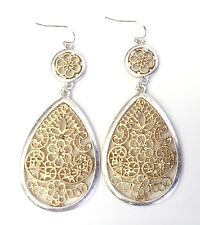 Long Silver and Gold Toned Floral Filigree Teardrop Dangle Earrings - Gift Boxed