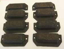 "Lot of 8 Bin Pulls Drawer Pulls Cast iron 3-1/4"" Centers Unpainted"
