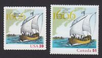 USA - CANADA =2006 Joint Issue Pair =400th Settlement= Champlain Ship #4073,2155