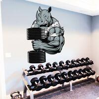 Rhino Wall Decals Full Color Bodybuilder Sticker Dumbbell Sport Gym Decor DD180