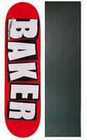BAKER SKATEBOARD DECK Brand Logo White 8.125' with GRIPTAPE BRAND NEW IN SHRINK