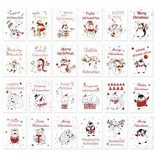 24 Postkarten Weihnachten Weihnachtskarten Set modern Tiere Schneemann Din A6
