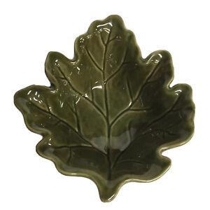 Pier 1 Stoneware Green Fall Leaf Dish Footed Bowl Decor