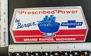 Prescribed Power by Berger Chevrolet Vinyl Decal Sticker 4154