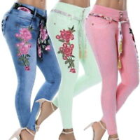 Fashion Womens Denim Leggings Skinny Pants Rose Embroidered Print Jean Plus-Size