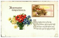 Antique colour printed postcard card Birthday Greetings flowers river landscape