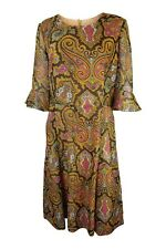 *UNLABELLED* VINTAGE PAISLEY ORANGE  LONG SLEEVE DRESS (M)