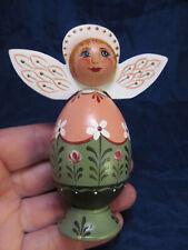 *Artisian Wood Hand Painted Angel Figure Figurine Peach & Green 1998