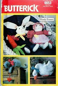Vintage Butterick Pattern 6653 Stuffed Animals Wendy Everett Design Uncut