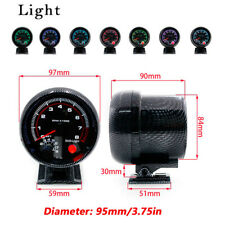 "3.75"" Car Truck SUV RV Carbon Fiber Pattern RPM Tachometer Gauge Kit Shockproof"
