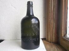 VERMONT SPRING SAXE & CO SHELDON,VT DARK GREEN QT 1870 MINERAL WATER BOTTLE