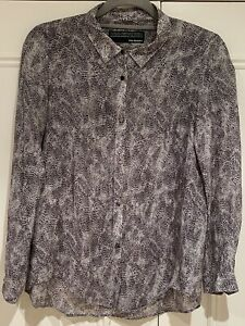 Kooples Women Shirt Suttle Black And Gray Leopard Print Cotton And Silk Size S