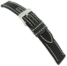22mm Hadley Roma White Stitched Kevlar Black Watch Band Mens MS848