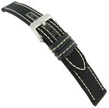 22mm Hadley Roma Black Genuine Kevlar White Stitched Mens Watch Band MS848