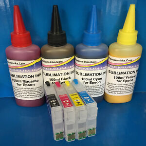 SUBLIMATION INK + REFILLABLE Cartridges Epson Expression Home XP 332 335 342 345