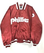 Vintage Philadelphia Phillies Mens Large Satin Jacket Bomber Majestic Burgundy