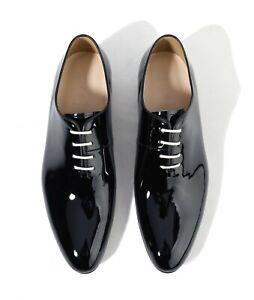Firenze Atelier Men's Handmade Navy Patent Leather Wholecut Oxford Dress Shoes