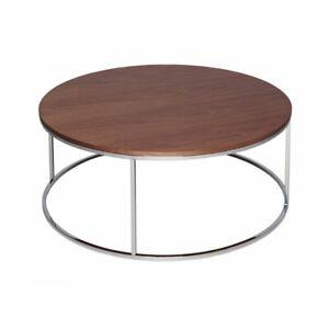 Gillmore Walnut and Silver Metal Contemporary Circular Coffee Table