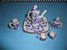 BARBIE*1:6 SCALE*TEA SET*PORCELAIN*BLUE AND WHITE*PRETTY*DOLLHOUSE*FREE SHIP