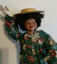 """""""Little Lucinda"""" African American Ethnic Porcelain Bisque Doll. 17"""" AA Girl Doll"""