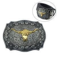 Western Cowboy Golden Long Horn Bull Head Floral Zinc Alloy Belt Buckle Newly