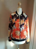 Next Women's Floral Print Bomber Jacket Lightweight Coat UK6 Bright Colours