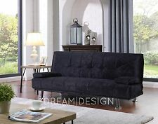 Crushed Velvet Fabric 3 Seat DESIGNER Sofa Bed Chrome Black