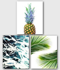 Set Of Three Tropical Prints, Pineapple, Ocean, Palm Leaves Art, 8 x 10 inches