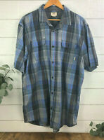 VANS off the Wall Button up Short Sleeve Shirt Men's Size XXL Blue Plaid