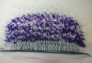 Original Watercolour painting.  Home to roost. Purple coppice.