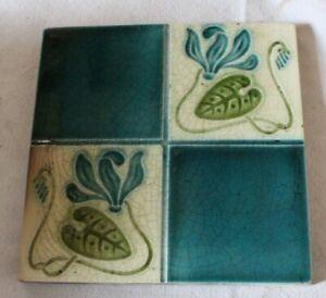 english COLOURFUL edwardian art nouveau  stylised LILY PAD DESIGN antique  tile