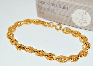 "Vintage 1990 Avon (OPULENT CHAIN ) Gold-Tone Bracelet NIB 7.5"""