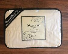 Damask Stripe Collection Full Sheet Set 100% Egyptian Cotton Ivory 500 Thread